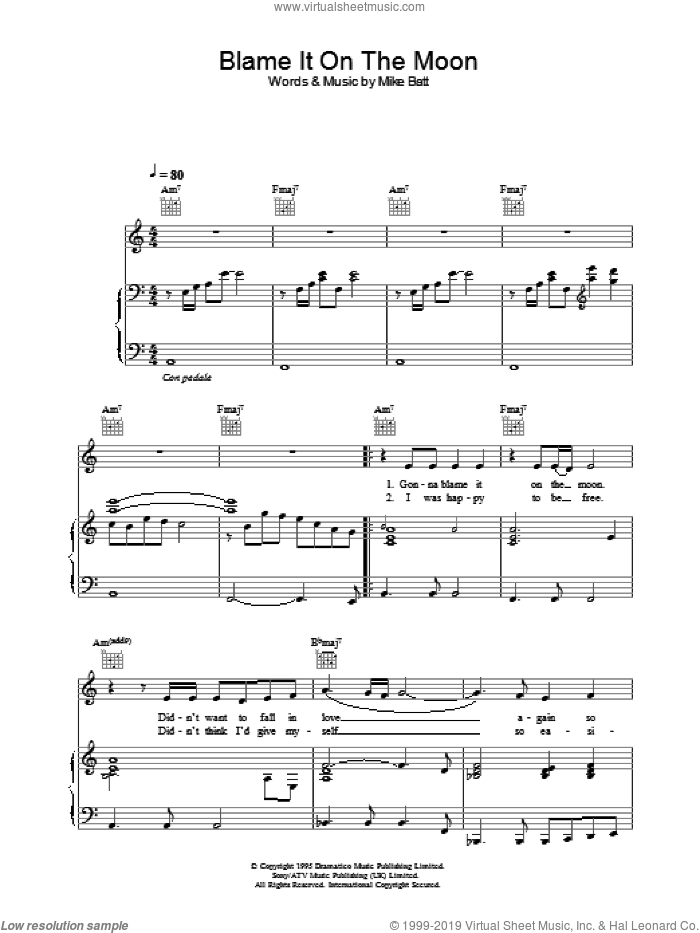 Blame It On The Moon sheet music for voice, piano or guitar by Katie Melua. Score Image Preview.