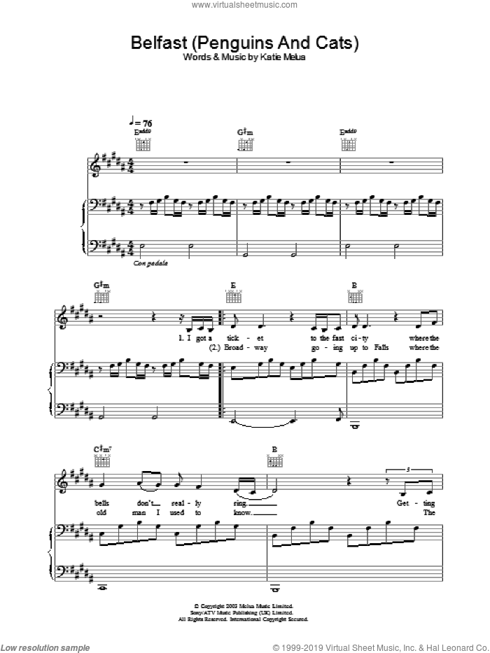 Belfast (Penguins And Cats) sheet music for voice, piano or guitar by Katie Melua. Score Image Preview.