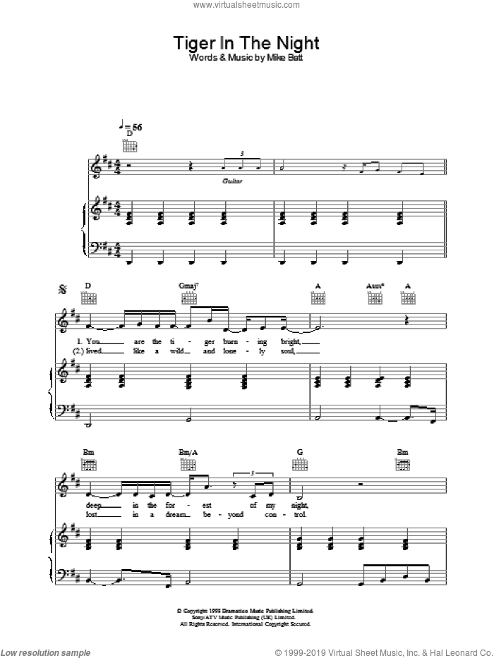Tiger In The Night sheet music for voice, piano or guitar by Katie Melua. Score Image Preview.