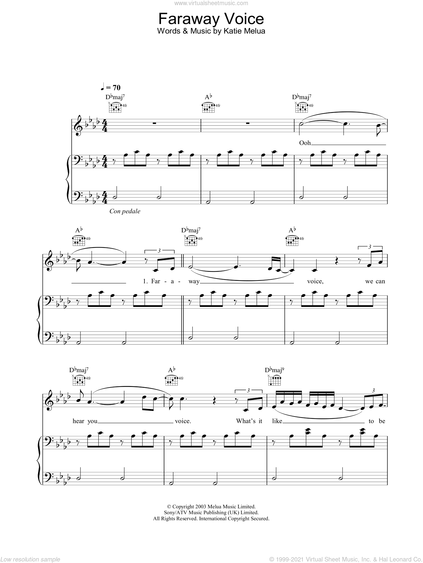 Faraway Voice sheet music for voice, piano or guitar by Katie Melua. Score Image Preview.