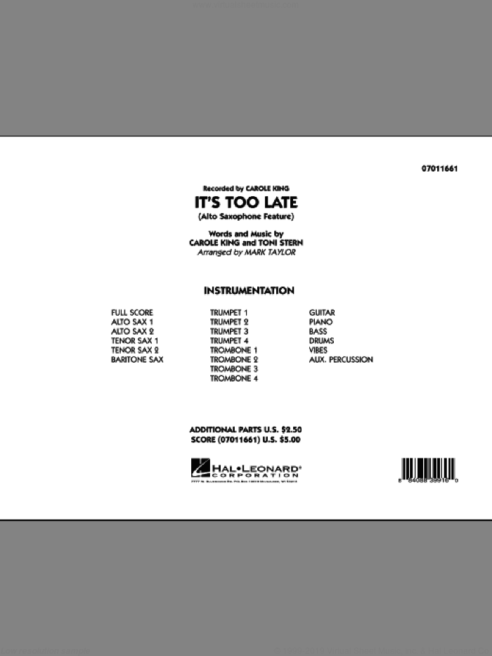 It's Too Late (Alto Saxophone Feature) (COMPLETE) sheet music for jazz band by Carole King, Toni Stern and Mark Taylor, intermediate skill level