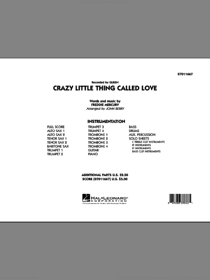 Crazy Little Thing Called Love (COMPLETE) sheet music for jazz band by Queen, Freddie Mercury and John Berry, intermediate skill level