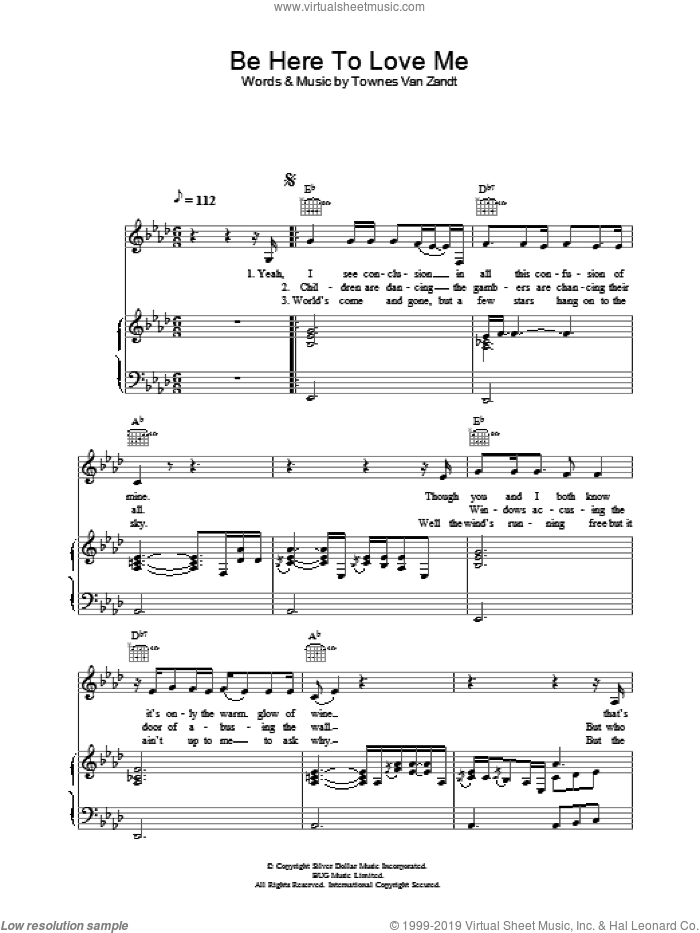 Be Here To Love Me sheet music for voice, piano or guitar by Norah Jones