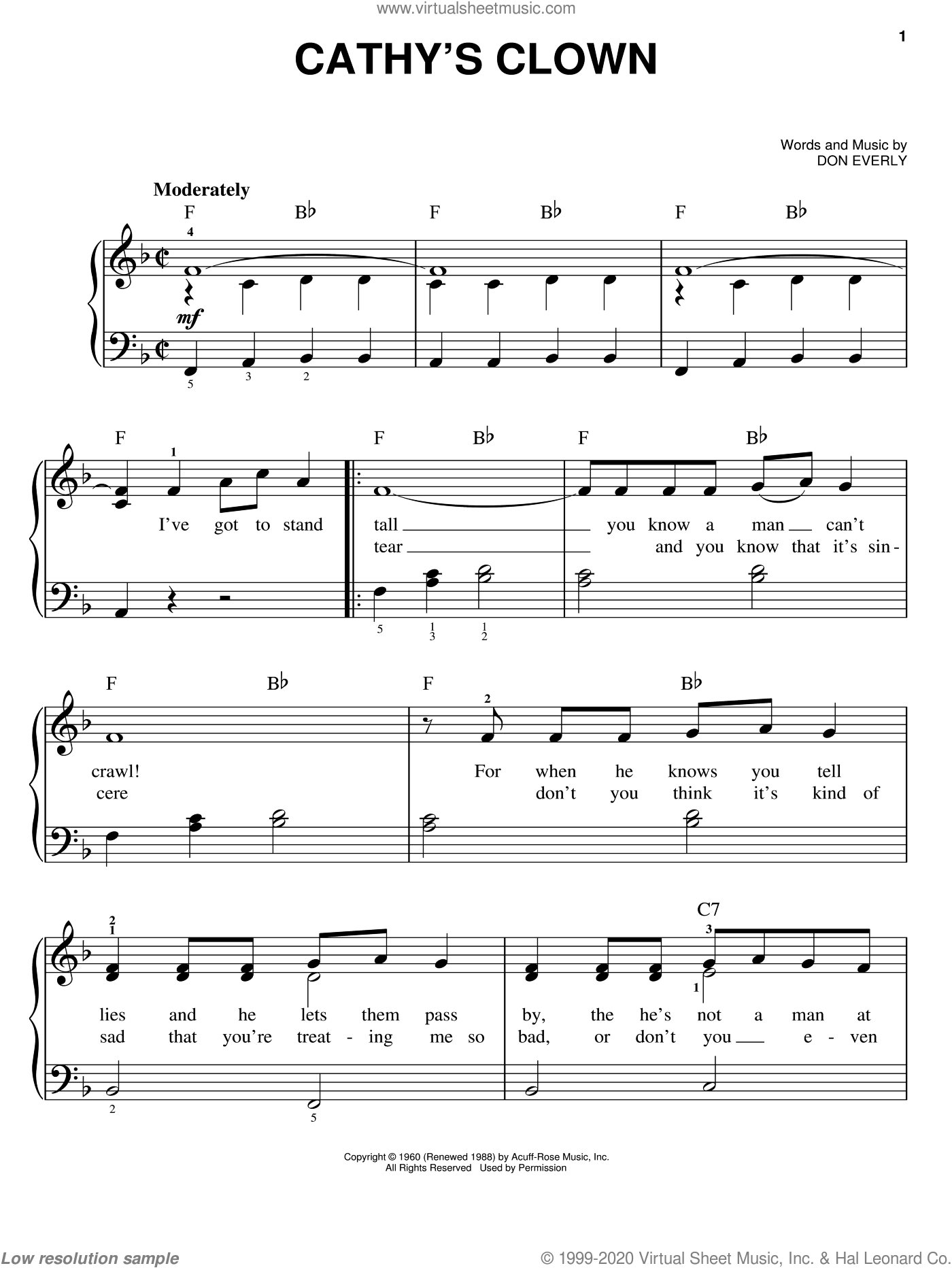 Cathy's Clown sheet music for piano solo by Everly Brothers, Reba McEntire and Don Everly, easy skill level