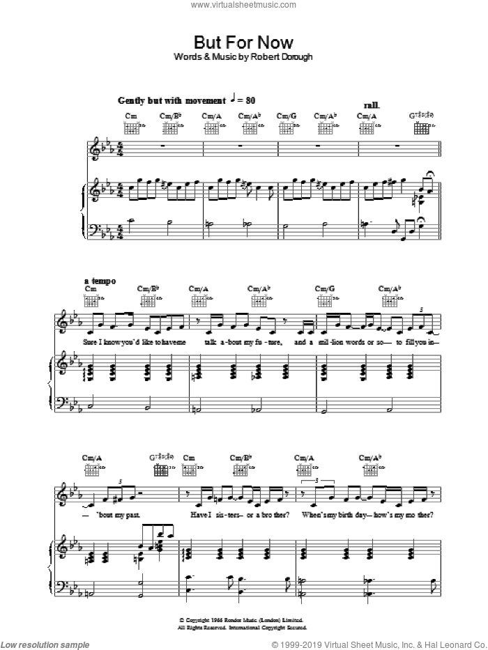 But For Now sheet music for voice, piano or guitar by Jamie Cullum. Score Image Preview.