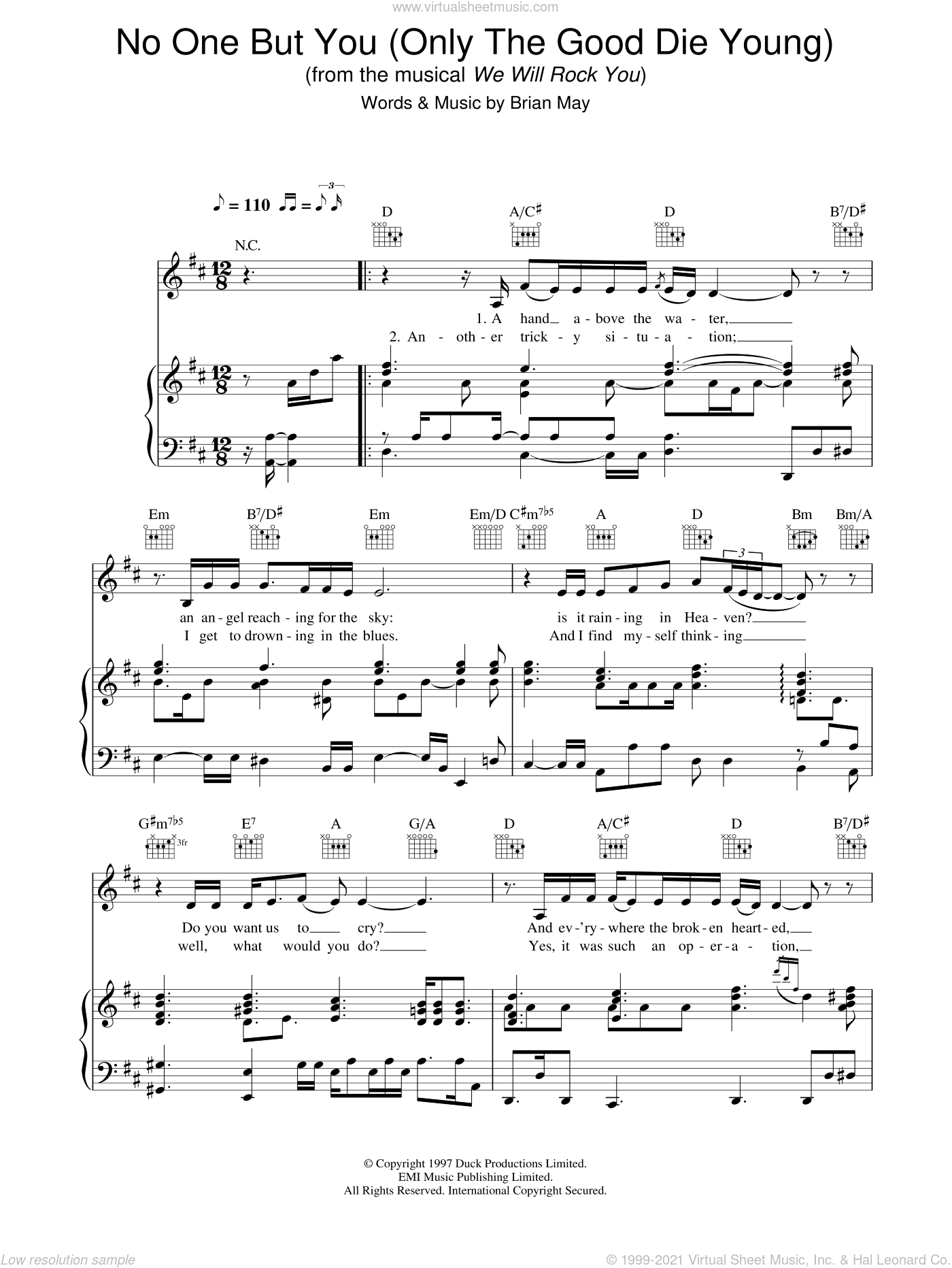 No One But You (Only The Good Die Young) sheet music for voice, piano or guitar by We Will Rock You, intermediate skill level