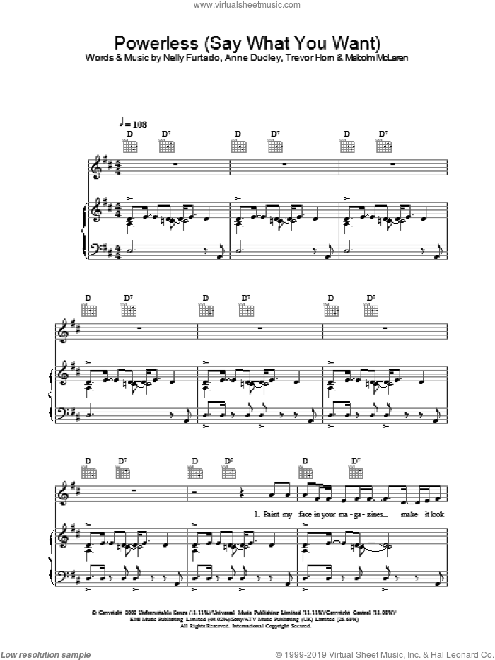 Powerless (Say What You Want) sheet music for voice, piano or guitar by Nelly Furtado. Score Image Preview.