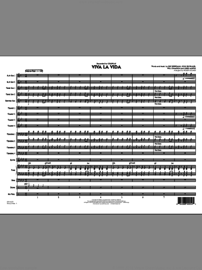 Viva La Vida (COMPLETE) sheet music for jazz band by Roger Holmes, Chris Martin, Guy Berryman, Jon Buckland, Will Champion and Coldplay, intermediate skill level