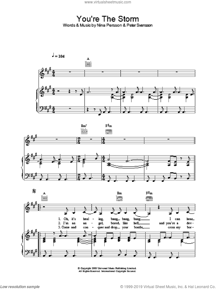 You're The Storm sheet music for voice, piano or guitar by The Cardigans. Score Image Preview.