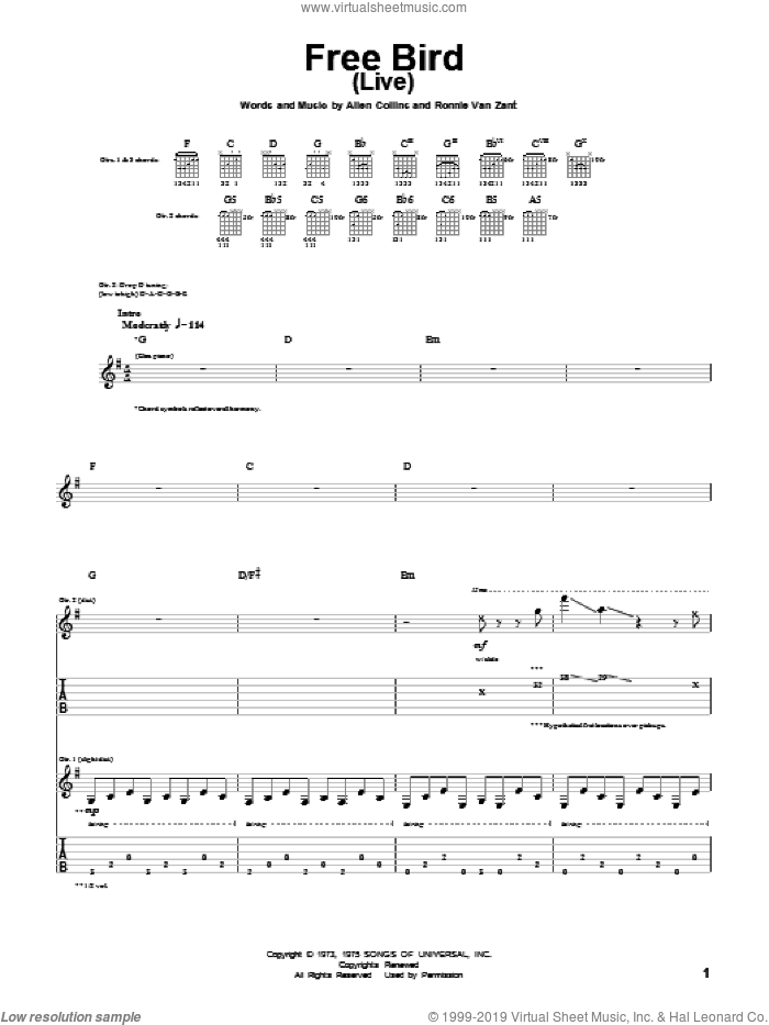 Free Bird sheet music for guitar (tablature) by Lynyrd Skynyrd and Ronnie Van Zant, intermediate. Score Image Preview.
