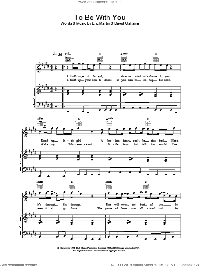To Be With You sheet music for voice, piano or guitar by Mr. Big. Score Image Preview.
