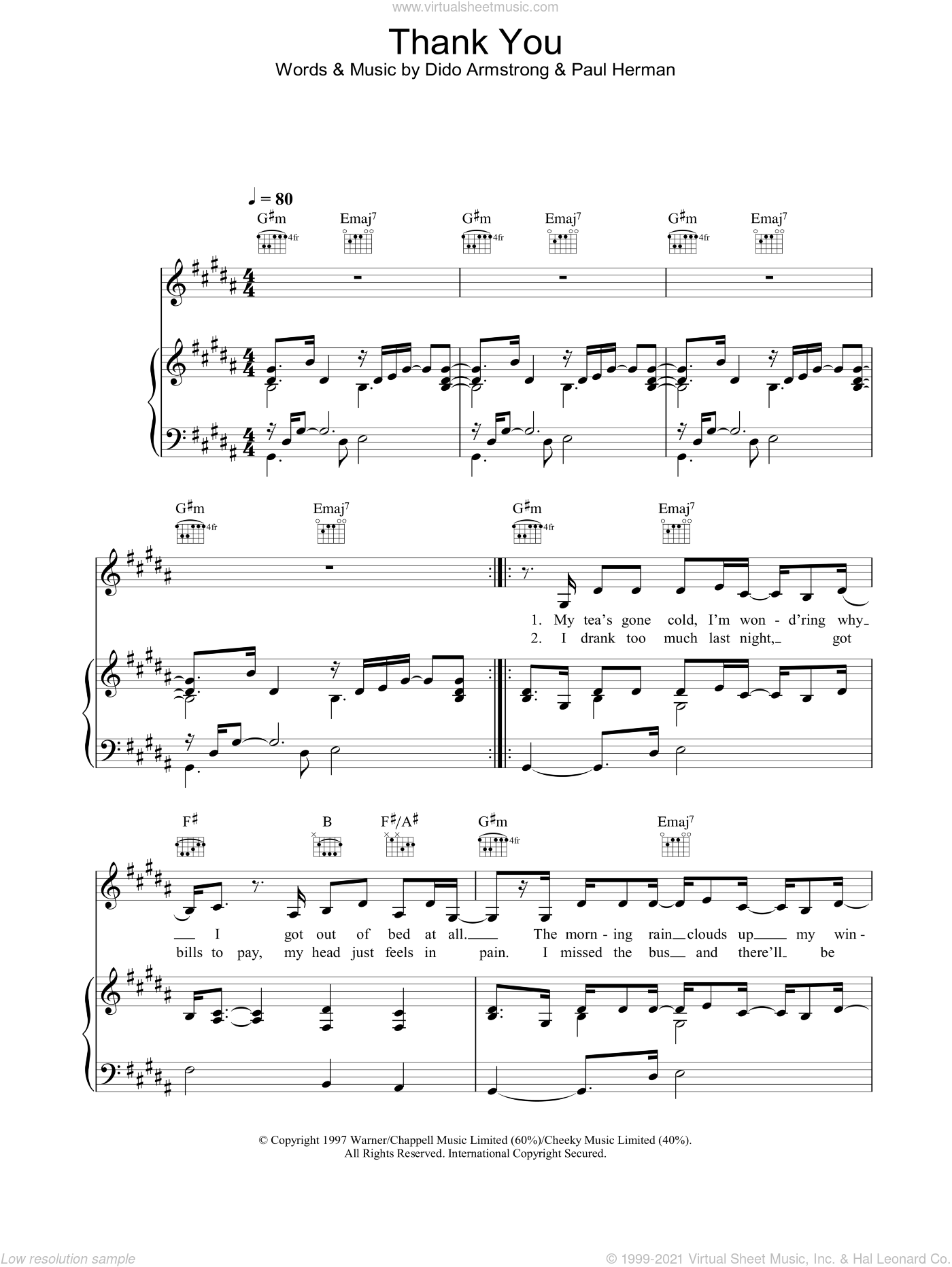 Thank You sheet music for voice, piano or guitar by Dido Armstrong, intermediate skill level