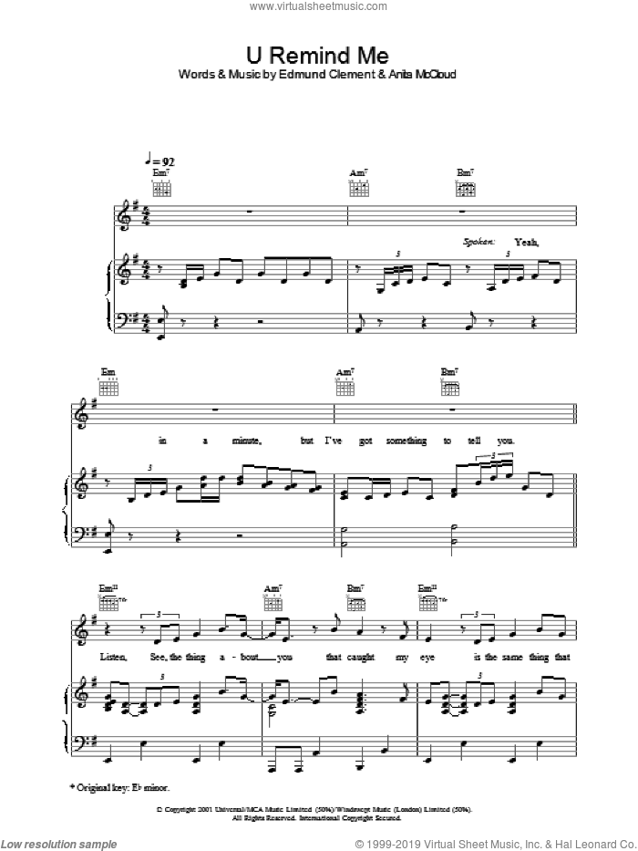 U Remind Me sheet music for voice, piano or guitar by Gary Usher. Score Image Preview.
