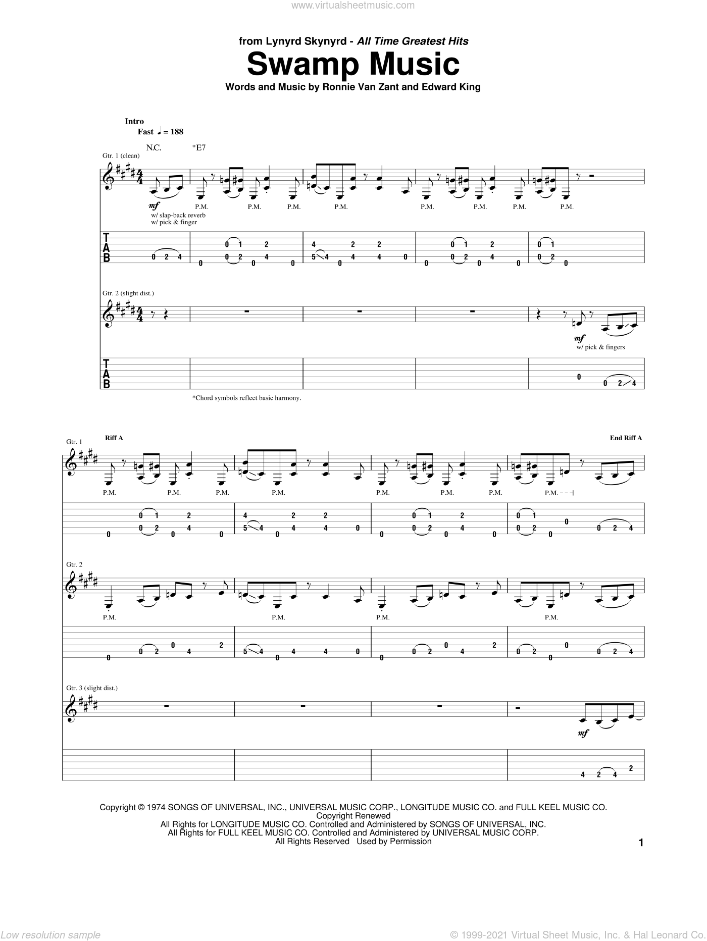 Swamp Music sheet music for guitar (tablature) by Ronnie Van Zant