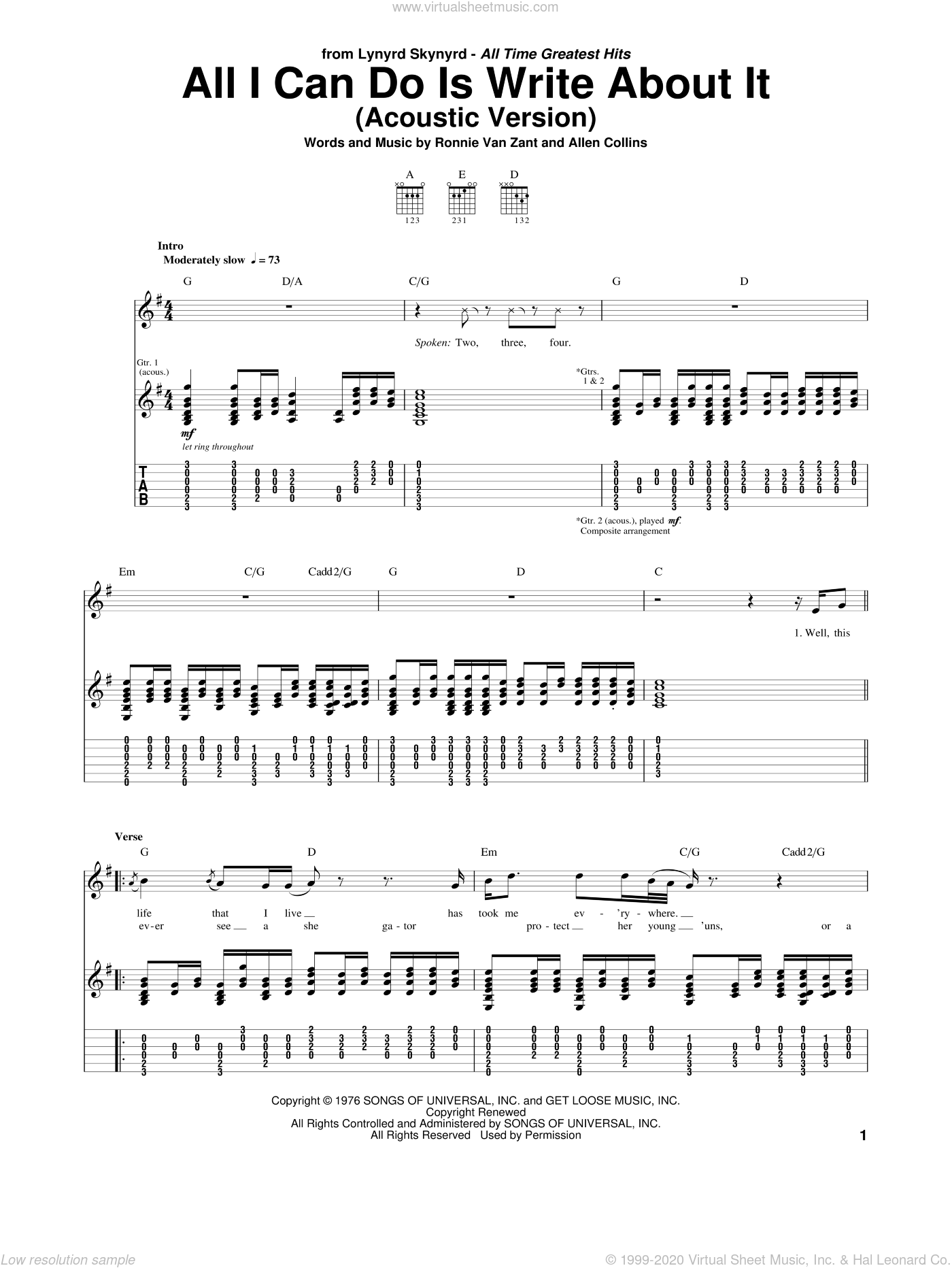 All I Can Do Is Write About It sheet music for guitar (tablature) by Ronnie Van Zant, Lynyrd Skynyrd and Allen Collins. Score Image Preview.