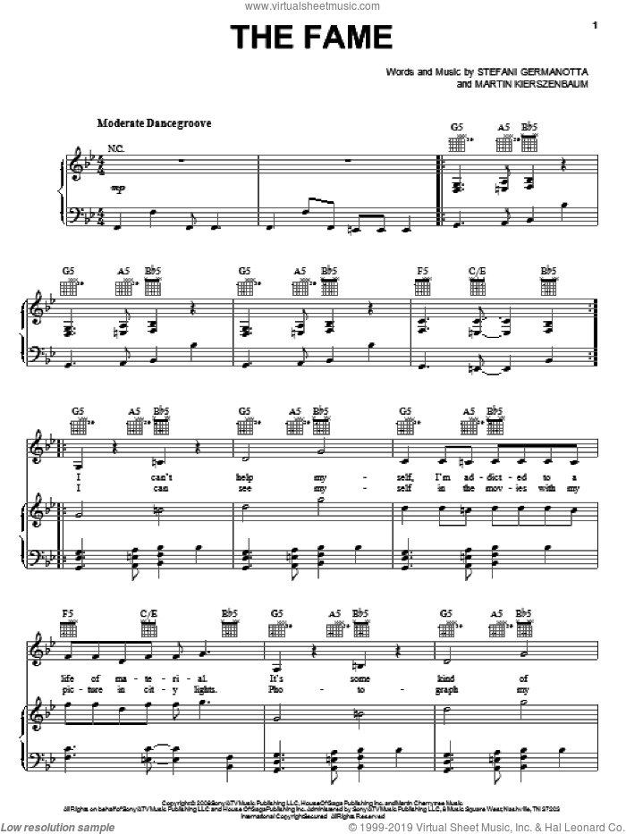 The Fame sheet music for voice, piano or guitar by Lady Gaga and Martin Kierszenbaum. Score Image Preview.