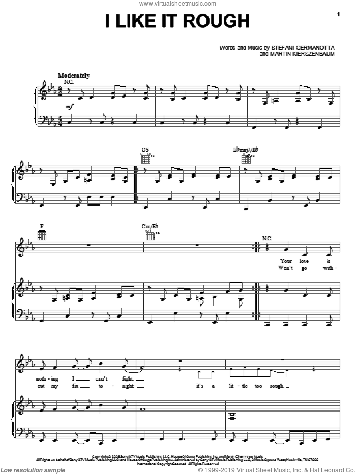 I Like It Rough sheet music for voice, piano or guitar by Lady GaGa and Martin Kierszenbaum, intermediate skill level