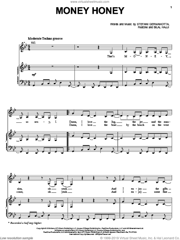 Money Honey sheet music for voice, piano or guitar by Lady GaGa, intermediate voice, piano or guitar. Score Image Preview.