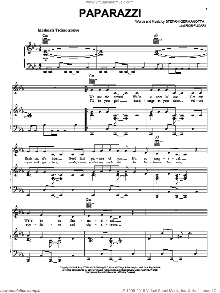Paparazzi sheet music for voice, piano or guitar by Lady Gaga and Rob Fusari. Score Image Preview.