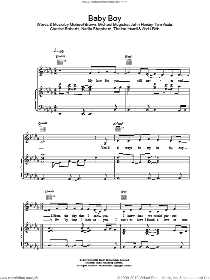 Baby Boy sheet music for voice, piano or guitar by Big Brovaz. Score Image Preview.