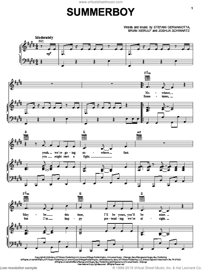 Summerboy sheet music for voice, piano or guitar by Lady GaGa, Brian Kierulf and Joshua Schwartz, intermediate skill level