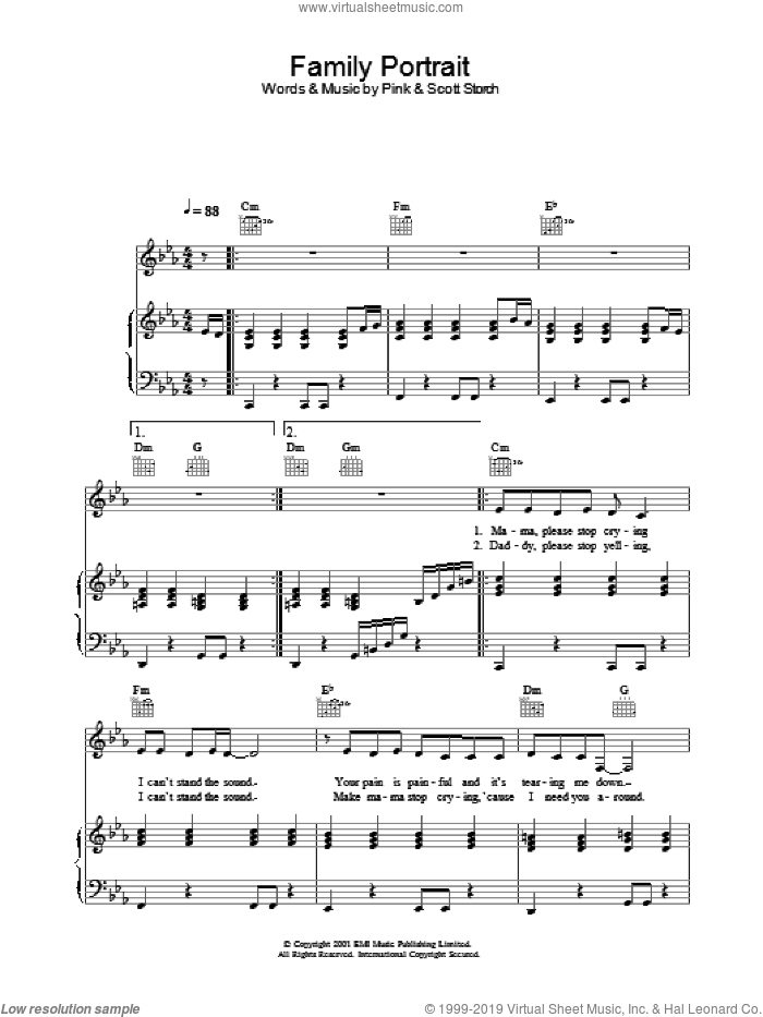 Family Portrait sheet music for voice, piano or guitar. Score Image Preview.