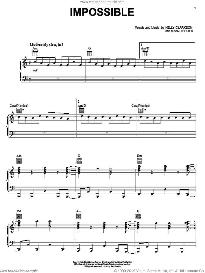 Impossible sheet music for voice, piano or guitar by Ryan Tedder