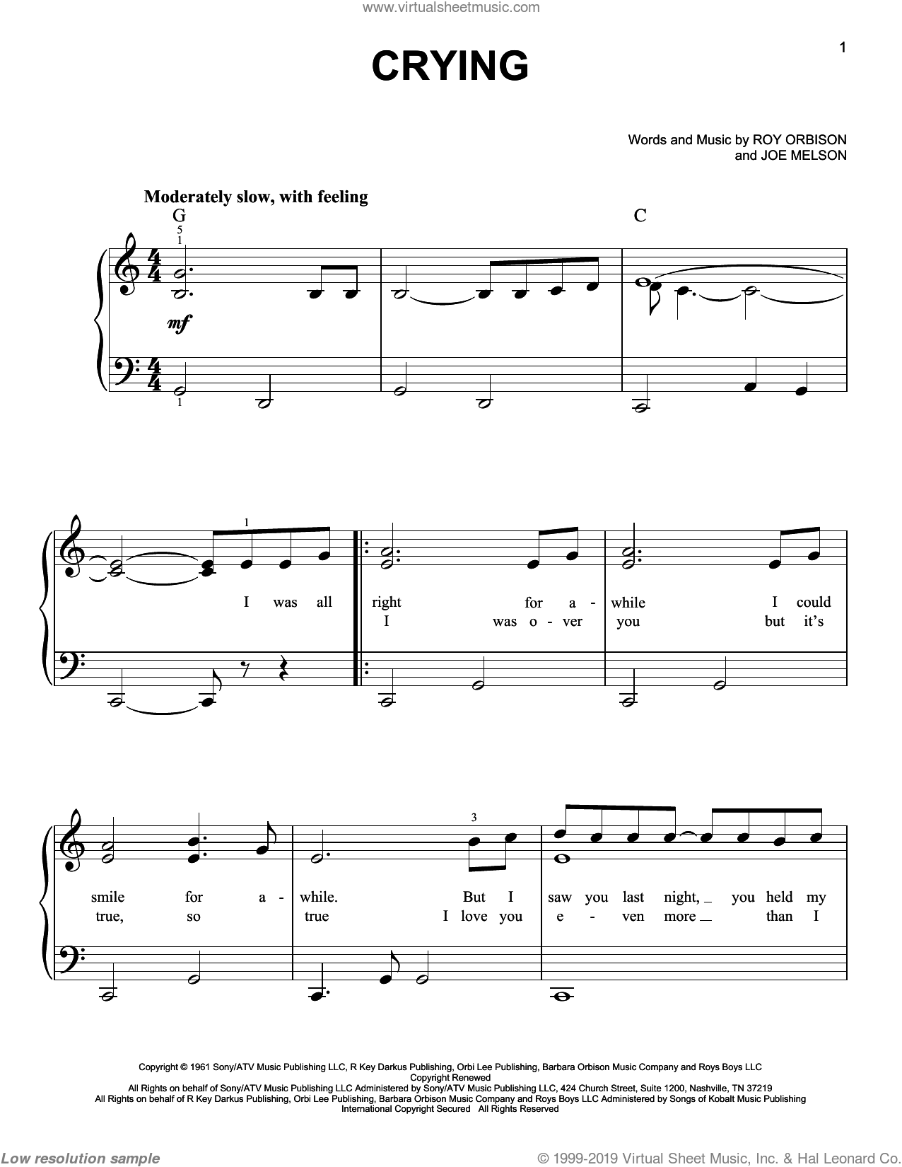 Crying sheet music for piano solo by Roy Orbison, Don McLean and Joe Melson, easy skill level