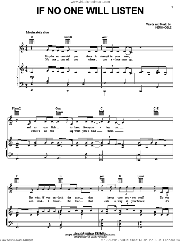 If No One Will Listen sheet music for voice, piano or guitar by Keri Noble and Kelly Clarkson. Score Image Preview.