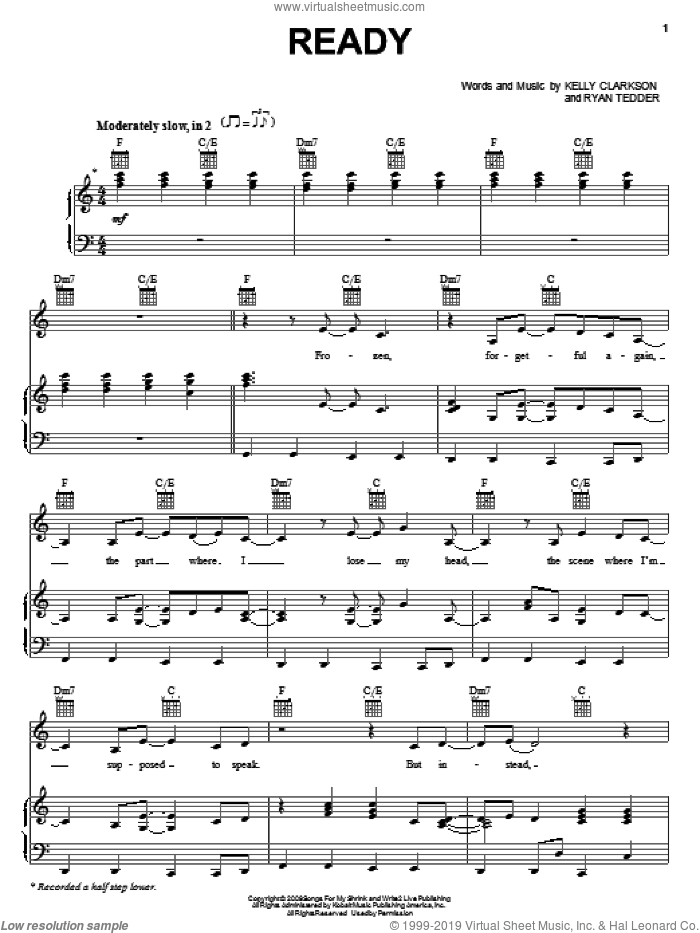 Ready sheet music for voice, piano or guitar by Kelly Clarkson and Ryan Tedder, intermediate voice, piano or guitar. Score Image Preview.