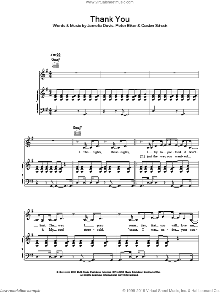 Thank You sheet music for voice, piano or guitar by Jamelia. Score Image Preview.