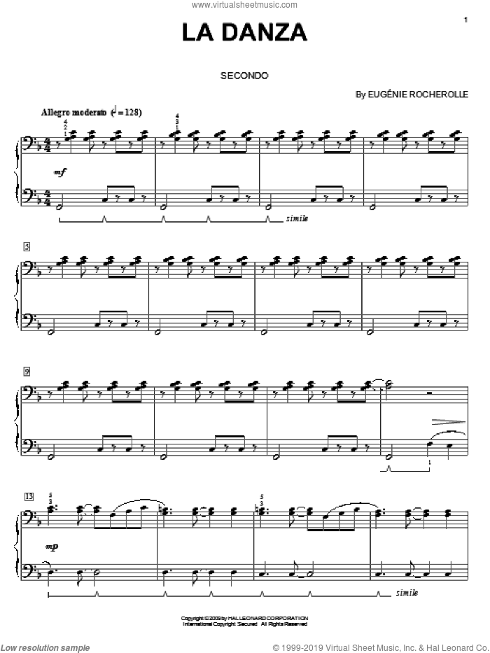 La Danza sheet music for piano four hands (duets) by Eugénie Rocherolle and Eugenie Rocherolle, intermediate piano four hands. Score Image Preview.