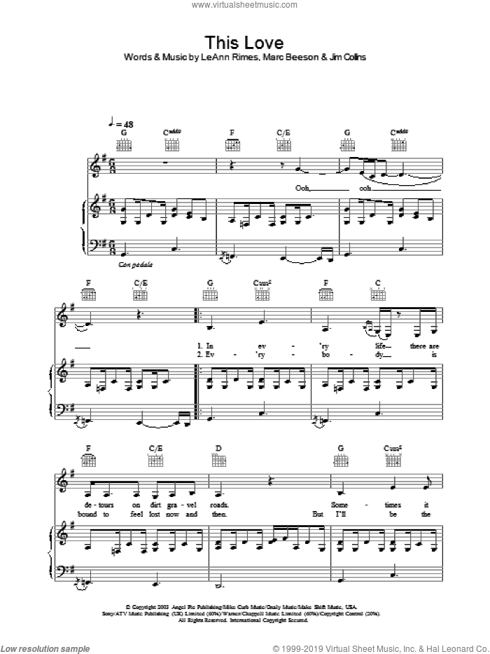 This Love sheet music for voice, piano or guitar by LeAnn Rimes, intermediate skill level