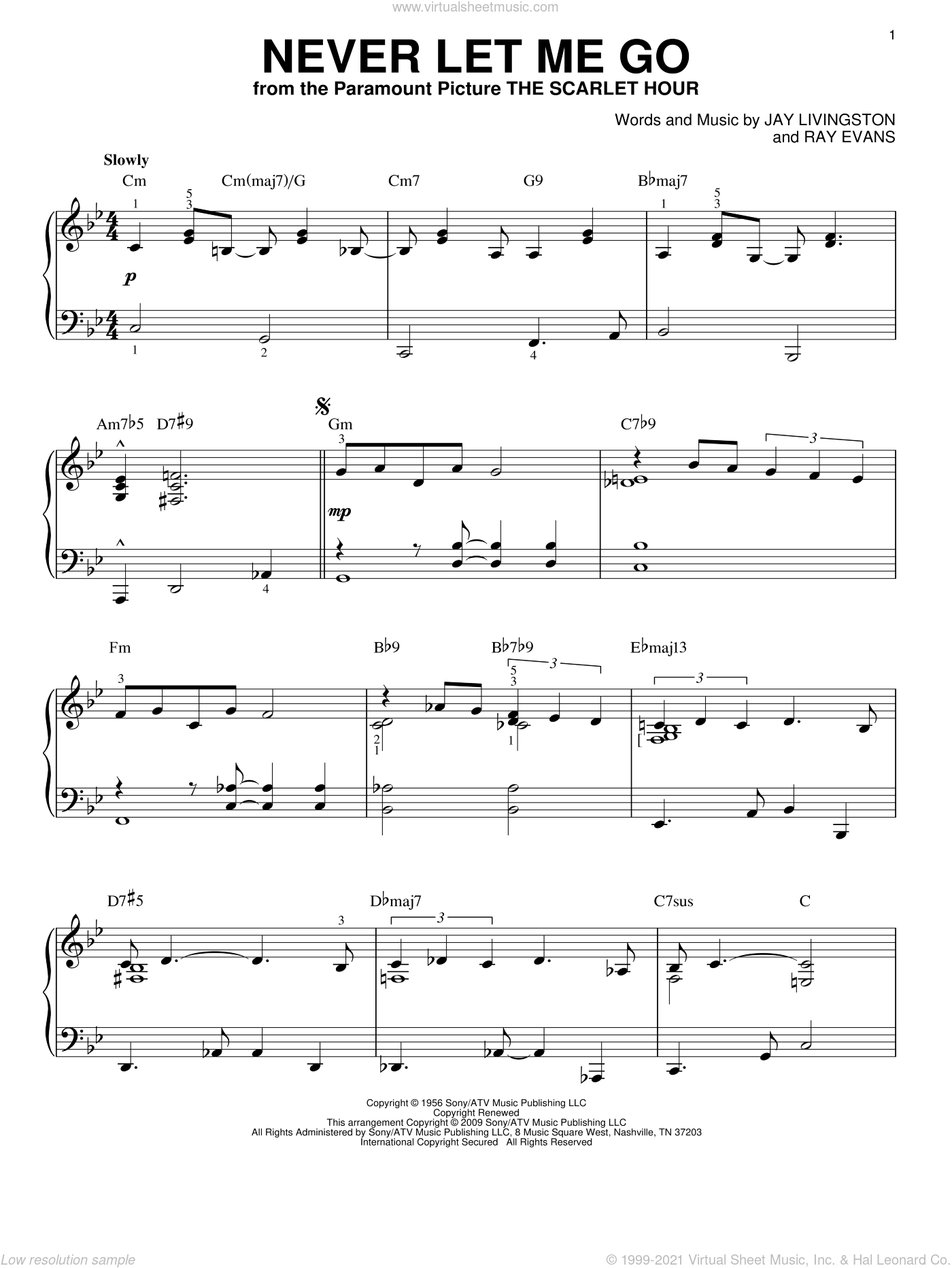 Never Let Me Go sheet music for piano solo by Dinah Washington, Jay Livingston and Ray Evans, intermediate skill level