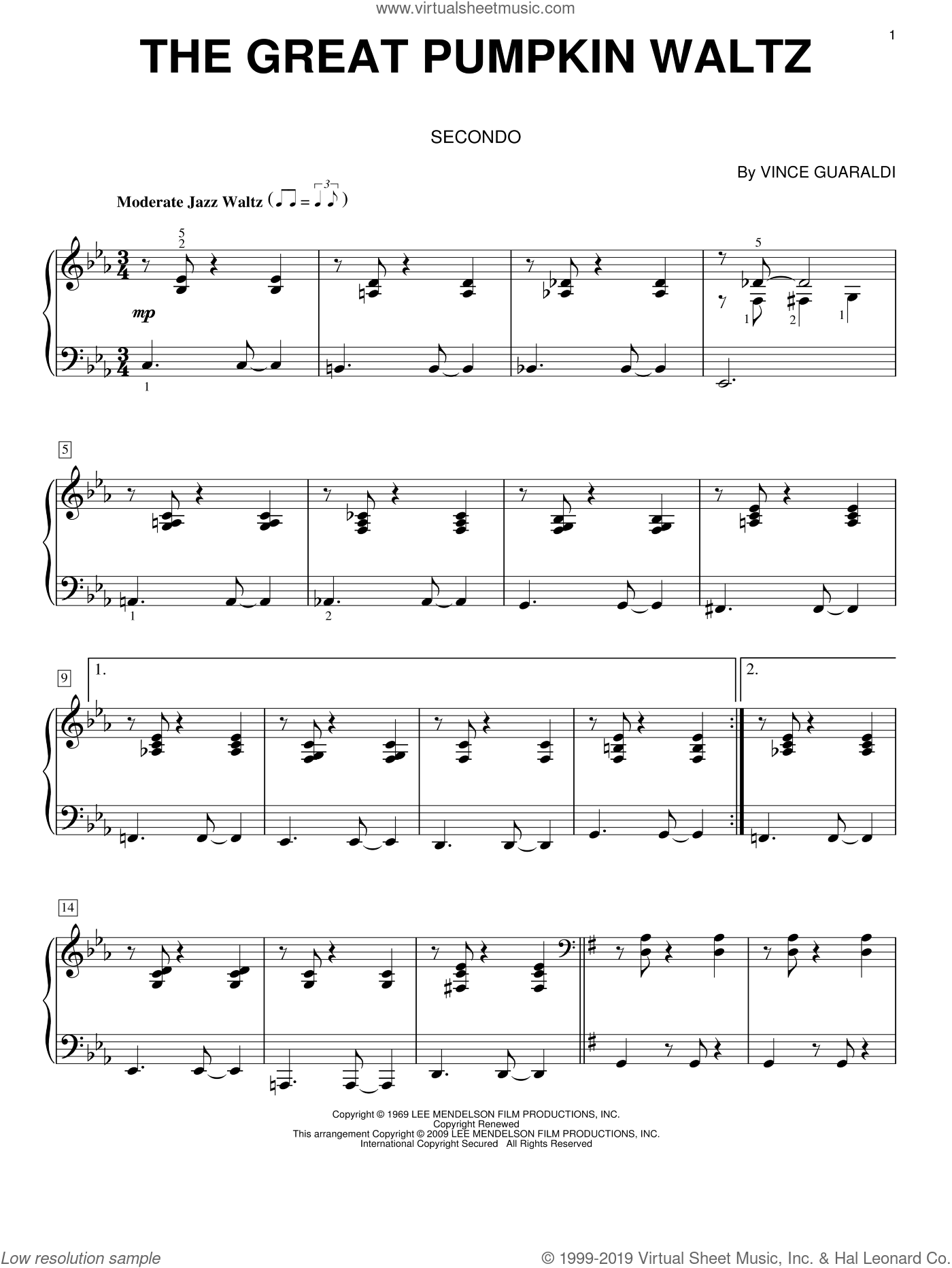 The Great Pumpkin Waltz sheet music for piano four hands by Vince Guaraldi, intermediate skill level