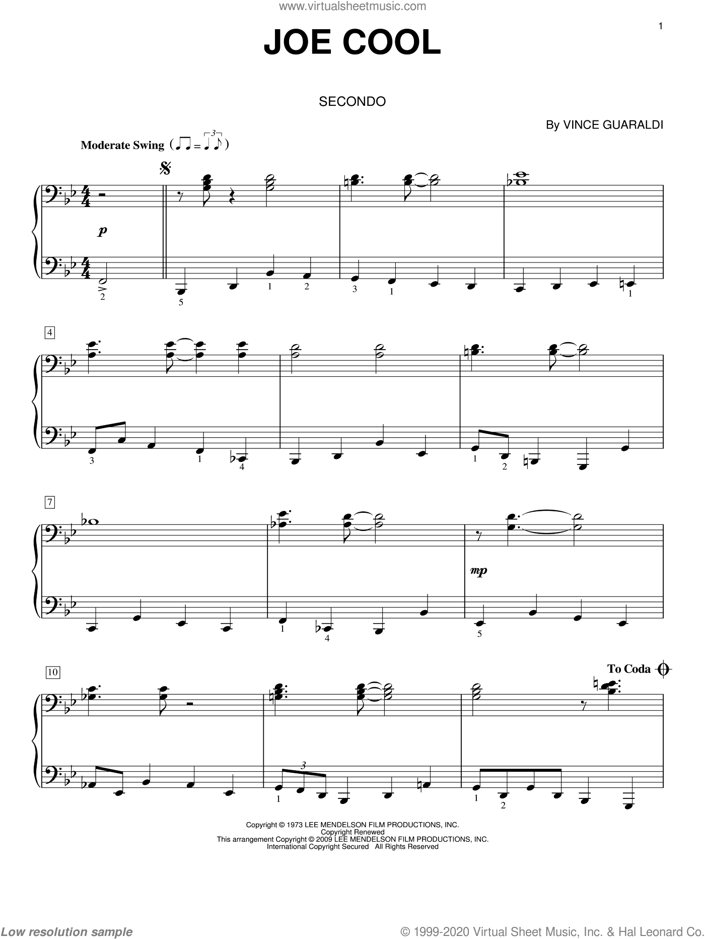 Joe Cool sheet music for piano four hands (duets) by Vince Guaraldi, intermediate piano four hands. Score Image Preview.