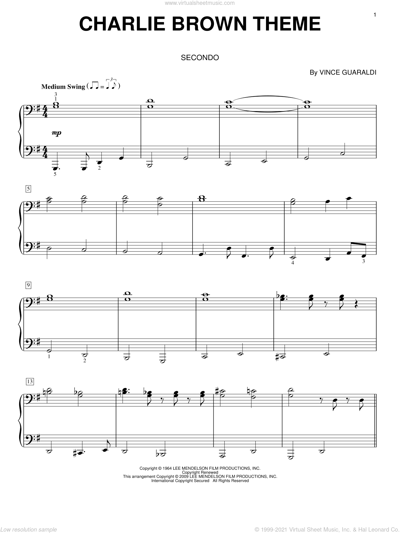 Charlie Brown Theme sheet music for piano four hands (duets) by Vince Guaraldi. Score Image Preview.