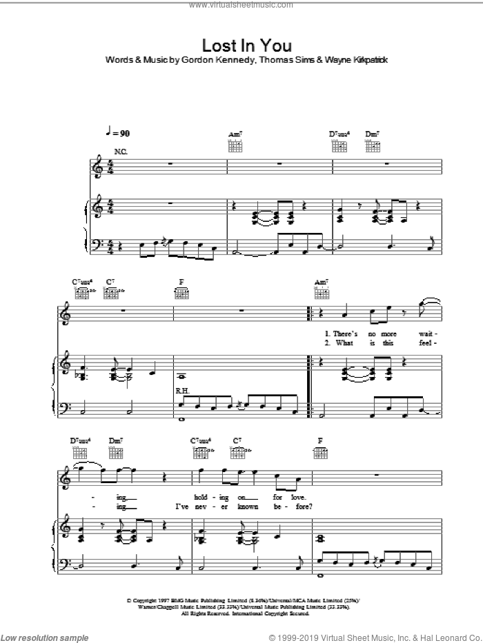 Lost In You sheet music for voice, piano or guitar by Westlife