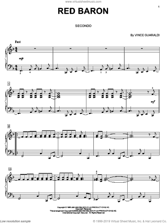 Red Baron sheet music for piano four hands by Vince Guaraldi, intermediate skill level