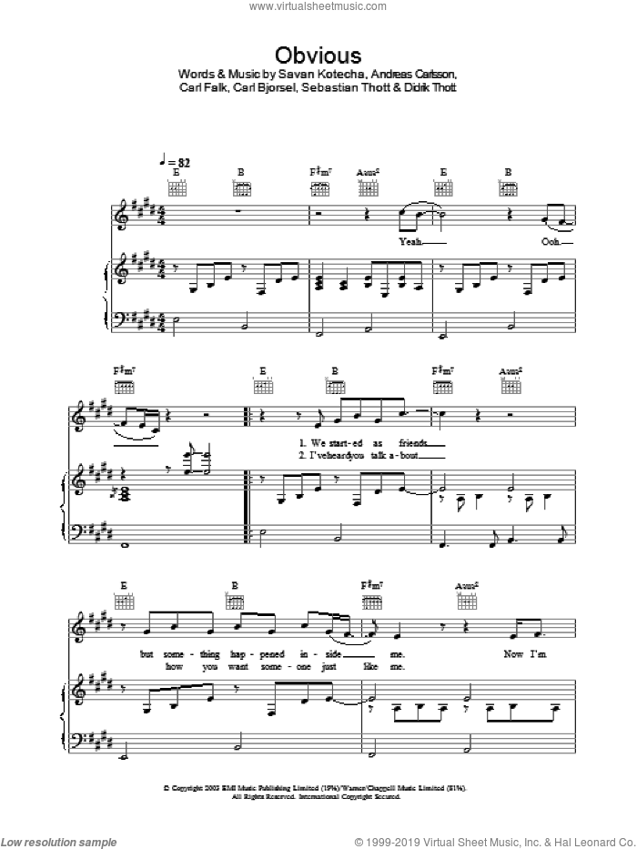 Obvious sheet music for voice, piano or guitar by Westlife, intermediate voice, piano or guitar. Score Image Preview.
