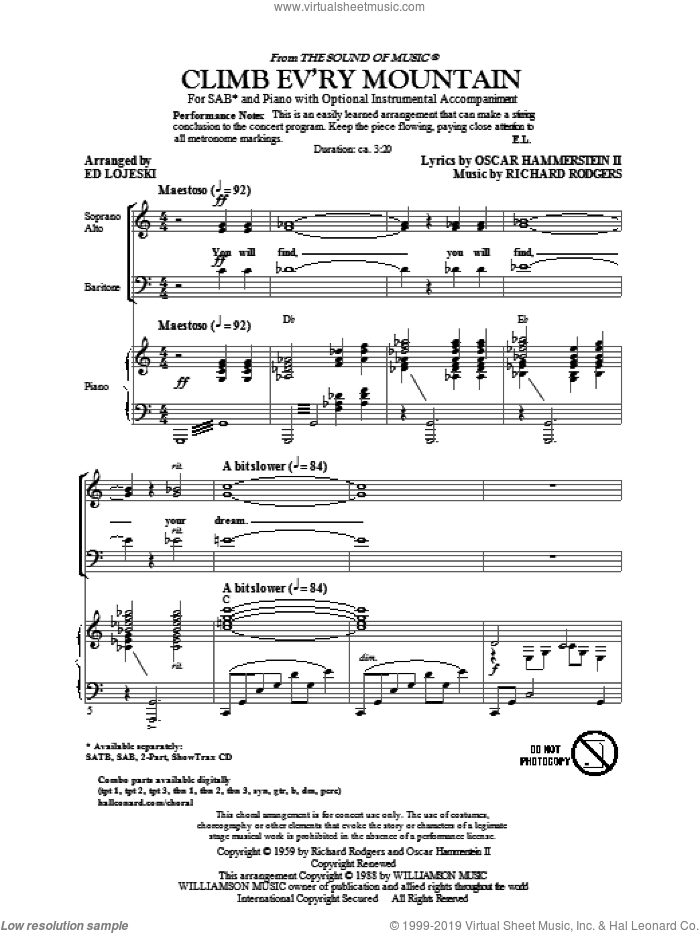 Climb Ev'ry Mountain sheet music for choir (SAB: soprano, alto, bass) by Richard Rodgers, Oscar II Hammerstein and Ed Lojeski, intermediate skill level