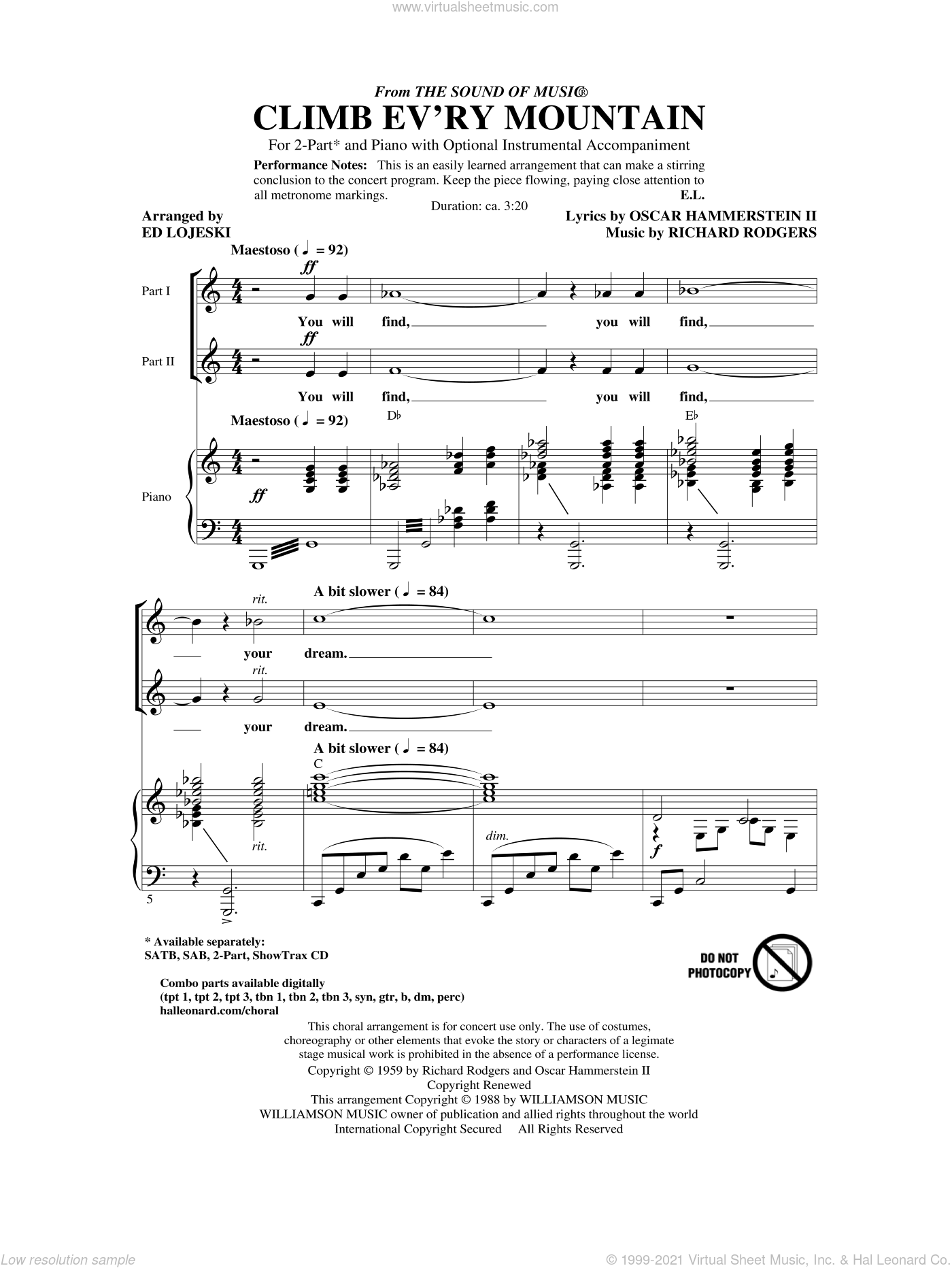 Climb Ev'ry Mountain sheet music for choir and piano (duets) by Oscar II Hammerstein, Ed Lojeski and Richard Rodgers. Score Image Preview.