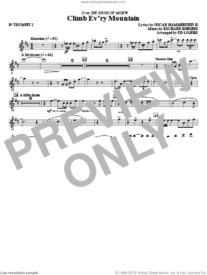 Climb Ev'ry Mountain (complete set of parts) sheet music for orchestra/band by Richard Rodgers, Oscar II Hammerstein and Ed Lojeski, intermediate skill level