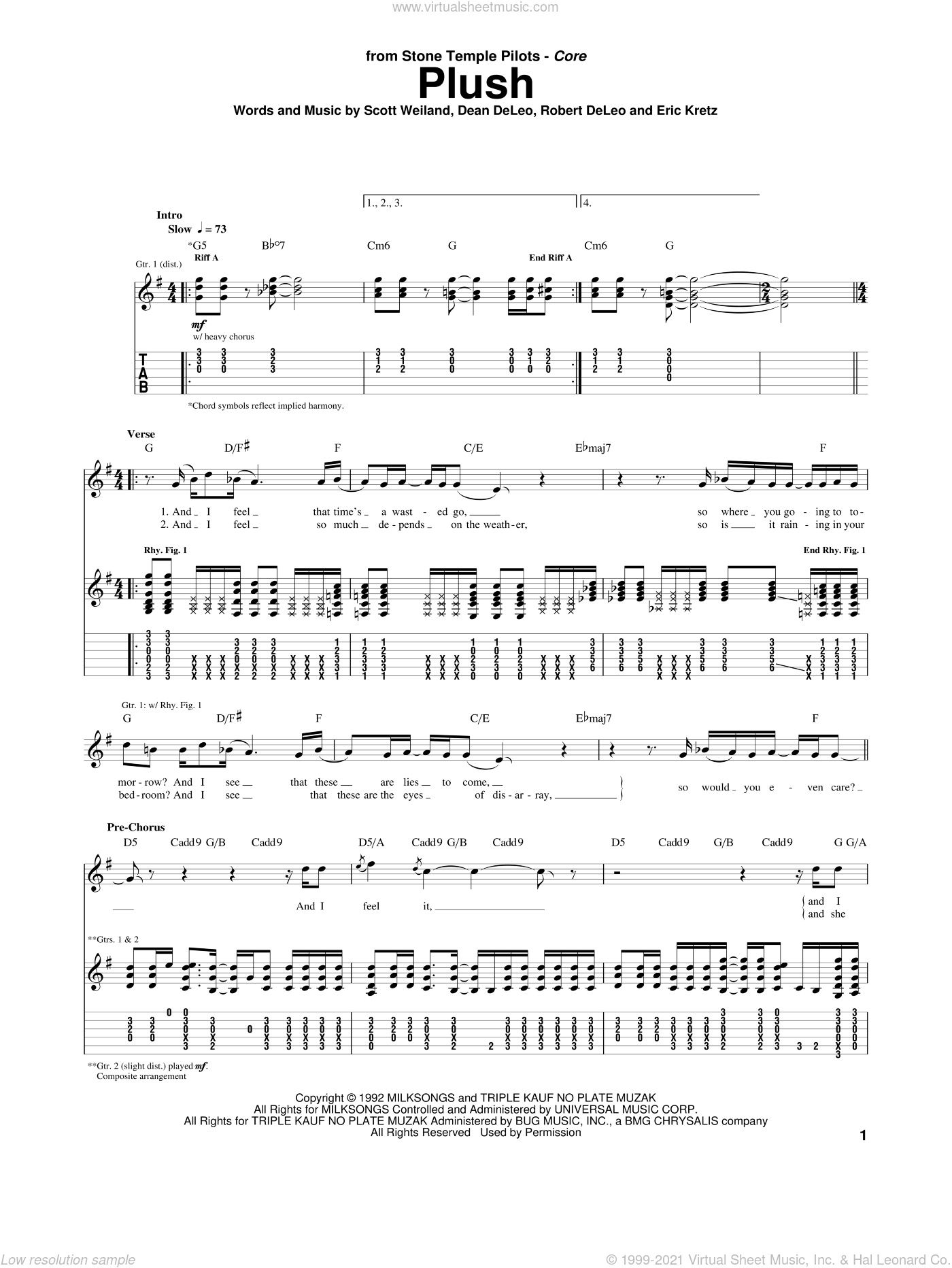 Plush sheet music for guitar (tablature) by Stone Temple Pilots, Dean DeLeo, Eric Kretz, Robert DeLeo and Scott Weiland, intermediate skill level