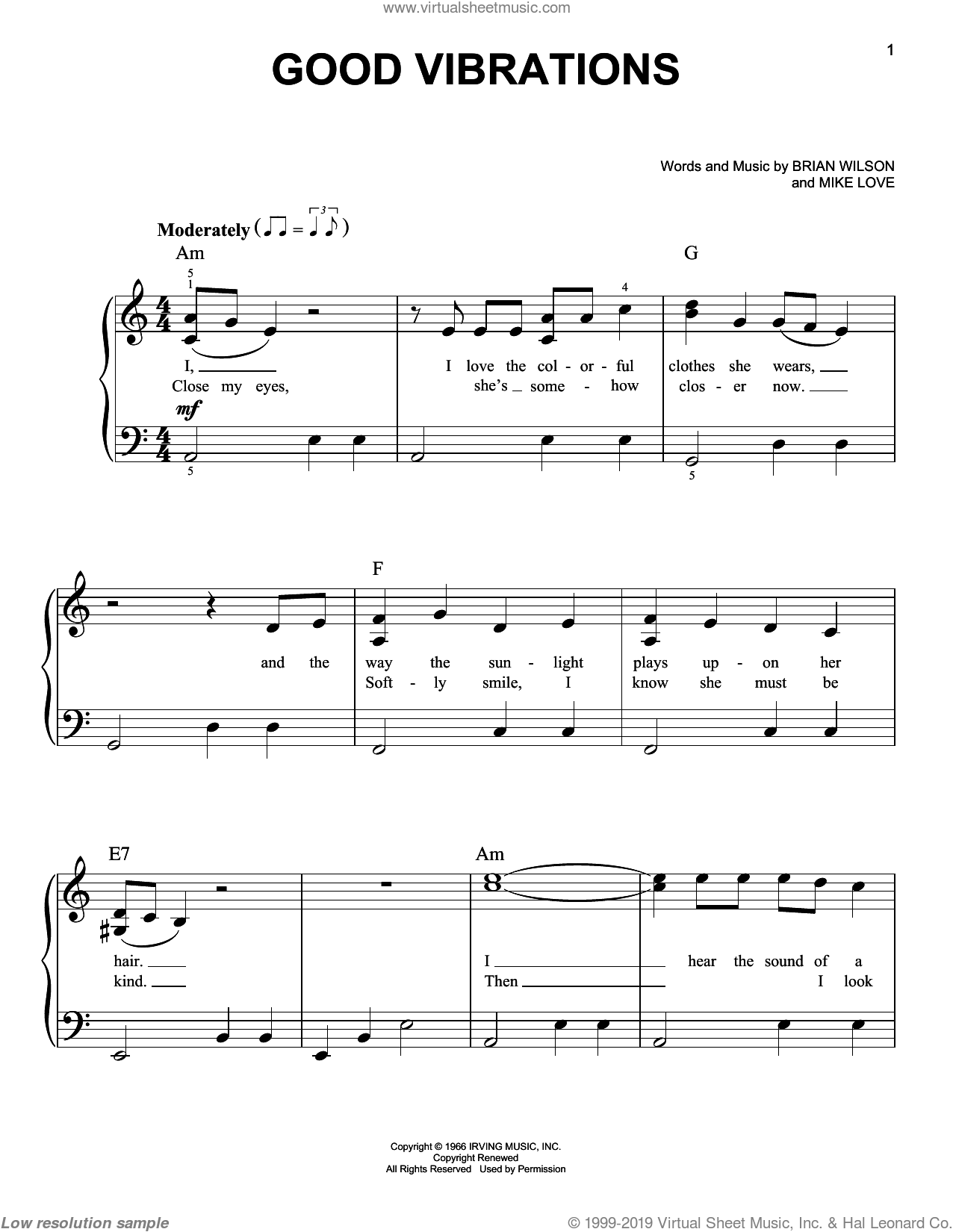 Good Vibrations, (Easy) sheet music for piano solo by The Beach Boys, Brian Wilson and Mike Love, easy. Score Image Preview.