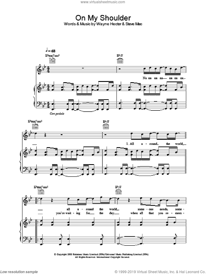 On My Shoulder sheet music for voice, piano or guitar by Westlife, intermediate. Score Image Preview.