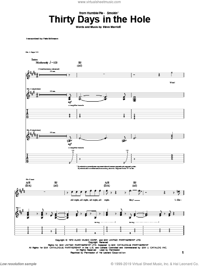 Thirty Days In The Hole sheet music for guitar (tablature) by Steve Marriott and Humble Pie. Score Image Preview.