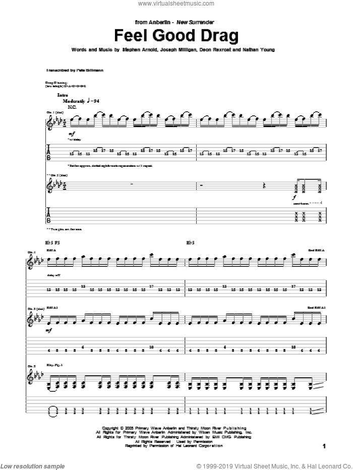 Feel Good Drag sheet music for guitar (tablature) by Anberlin, intermediate guitar (tablature). Score Image Preview.