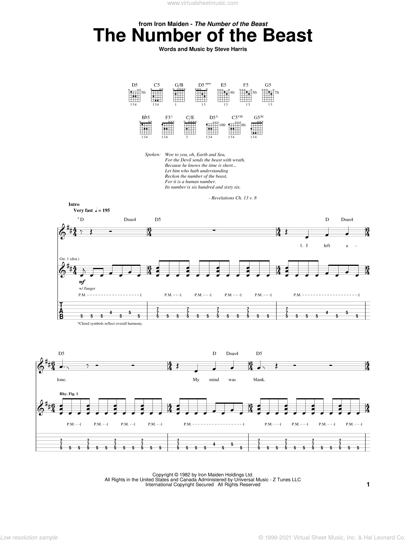 The Number Of The Beast sheet music for guitar (tablature) by Iron Maiden and Steve Harris, intermediate guitar (tablature). Score Image Preview.