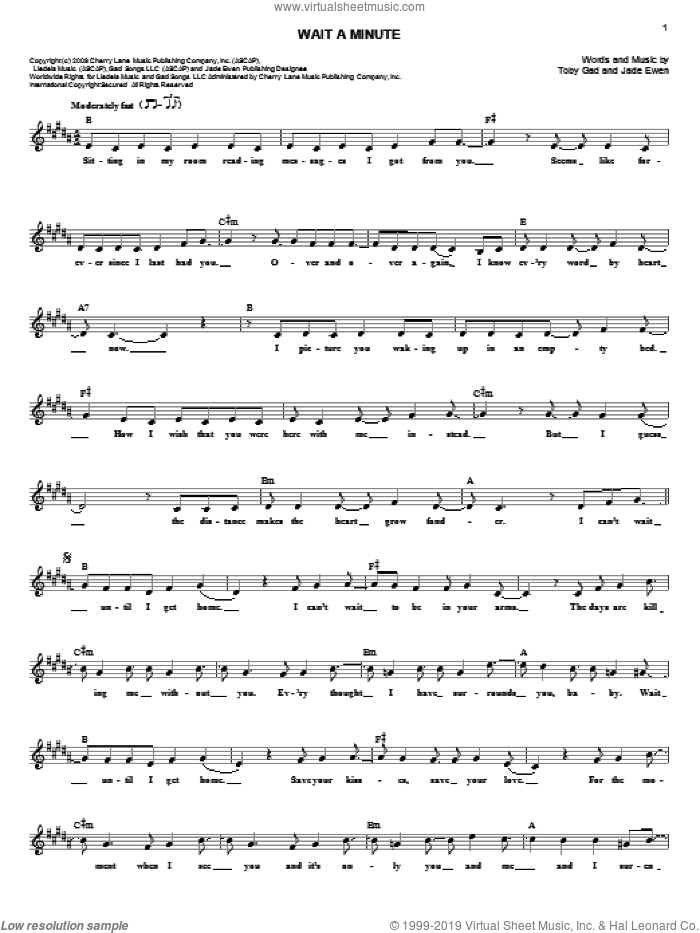 Wait A Minute sheet music for voice and other instruments (fake book) by Jade Ewen and Toby Gad. Score Image Preview.